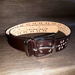 Accessories - Dark Brown Cutout Flowers Belt Like New